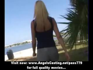 golden-haired milf pleasant talking with lesbo