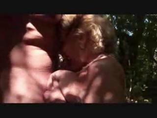 bulky blonde granny eats a youthful pounder in