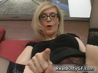 golden-haired mama in glasses licking inflexible