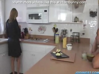 couple bonks in kitchen with breakfast---