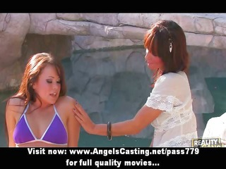 hot non-professional lesbo angels giving a