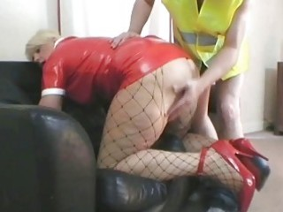 sexy blond mother i in latex outfit nailed by her