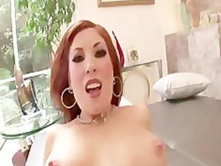 sexy redhead milf rides cock for facial