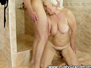 aged amateur granny sucks then drilled by this