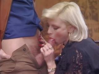 posh pierced granny in nylons fucks