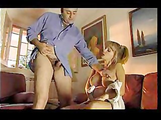 blonde pregnant babe gives tugjob
