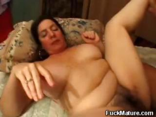 plumper, aged brunette hair acquires her shaggy