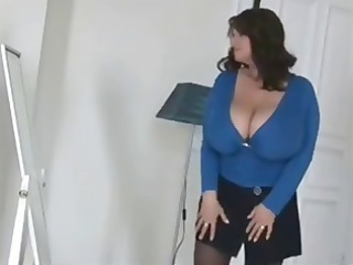 Busty, chubby brunette trying on clothes and