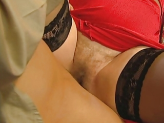 grandmas curly snatch is open for her young lover