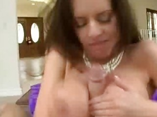 hottie milf big tit chick blows on a large dick