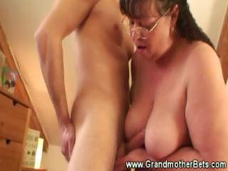 chunky granny rides excited juvenile jock