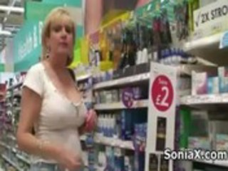 aged playgirl shows sexy assets in public