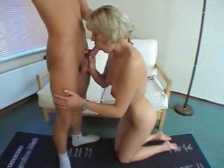 short-haired older blond with petite titties