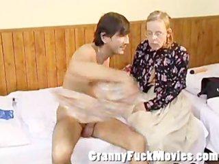granny betsy giving jos a valuable blowjob