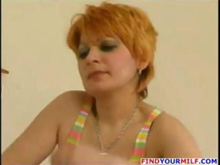 russian mature redhead eats boys cock and then