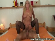 sexy granny riding younger cock